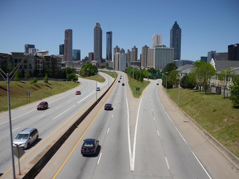 The view of Atlanta from Jackson Street Bridge in Atlanta, Georgia on Tuesday, April 21, 2015. (Photo/Brenna Beech)
