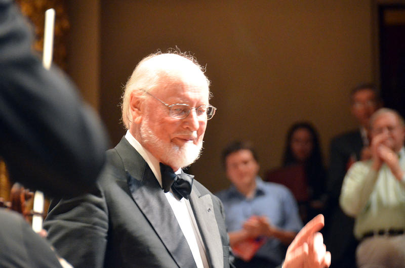John Williams, center, the 19th Conductor of the Boston Pops Orchestra since its founding in 1885.
