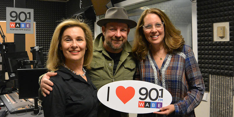 Kristian Bush from Sugarland; playwright Janece Shaffer with WABE's Lois Reitzes