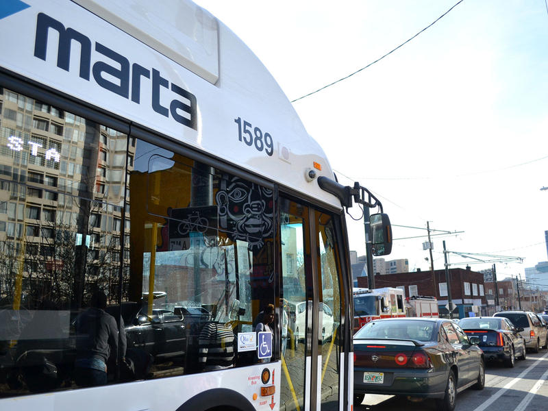 MARTA bus in traffic, Jan. 19, 2015, Atlanta