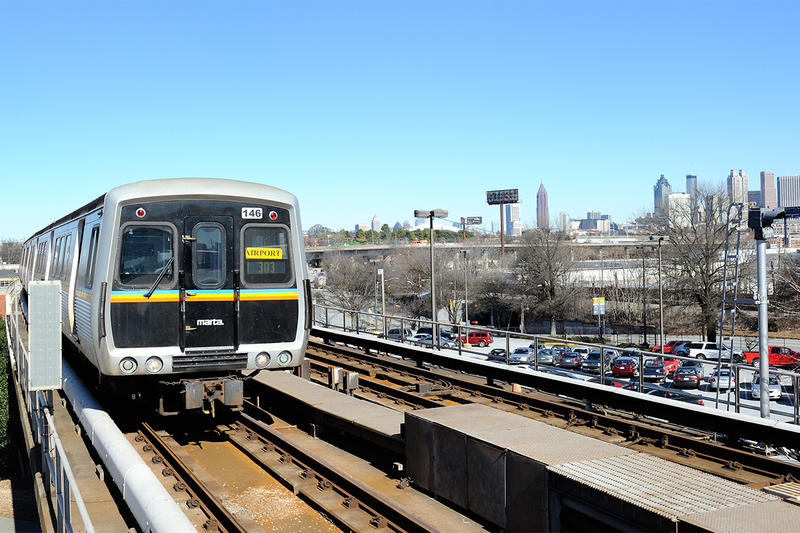 A MARTA train arrives at West End station in Atlanta, Georgia.