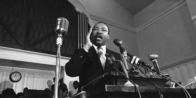 In this 1960 file photo, Martin Luther King Jr. speaks in Atlanta.