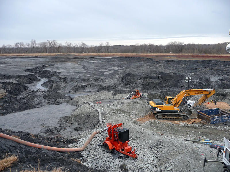 A concrete pipe below this coal ash impoundment failed, releasing between 50,000 and 82,000 tons of coal ash and 27 million gallons of ash pond water waste into the Dan River.