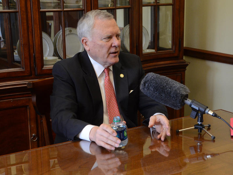 Georgia Governor Nathan Deal talks with WABE's Denis O'Hayer on Thursday, April 23, 2015. (Photo/Brenna Beech)