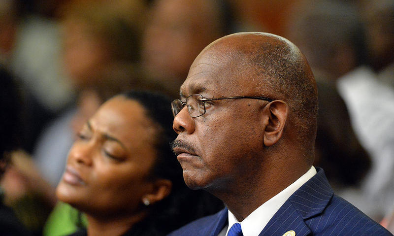 Fulton County District Attorney Paul Howard listens during the re sentencing hearing in Fulton County Superior Court, Thursday, April 30, 2015 in Atlanta.