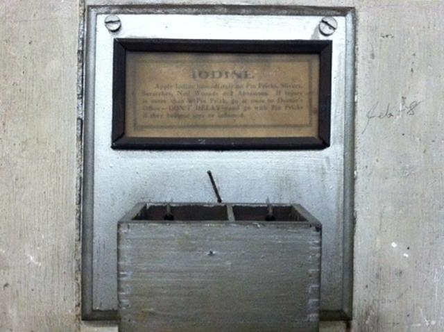This old safety station is still affixed to a wall in the old basement.