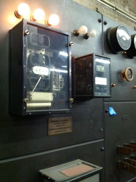 A portion of the electrical panel that powered the building for years. In its new life, this may serve as the backdrop at a bar or in a lobby.