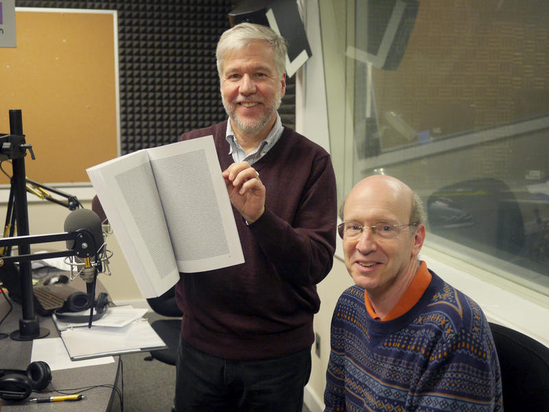 Ga. Tech. professor David Goldsman and Denis O'Hayer, with pi computed to one million digits.