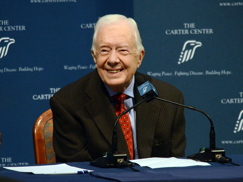 Former President Jimmy Carter radiates positivity at a press conference at The Carter Center in Atlanta on Thursday, August 20, 2015 to announce that his cancer has spread to four small spots on his brain, but that he is at ease.