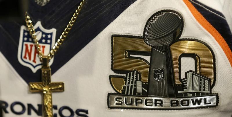 A Super Bowl 50 patch is shown on the jersey of Denver Broncos wide receiver Demaryius Thomas as he speaks to reporters in Santa Clara, Calif., Thursday, Feb. 4, 2016.