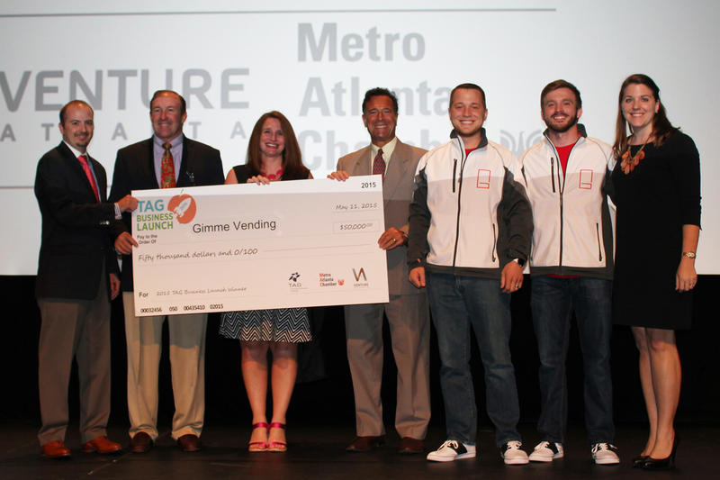 Left to right: Chris Hart, David Hartnett, Allyson Eman, Tino Mantella, Cory Hewett, Evan Jarecki, and Amanda Hendley; winners of the 2015 TAG Business Launch tech start up competition.