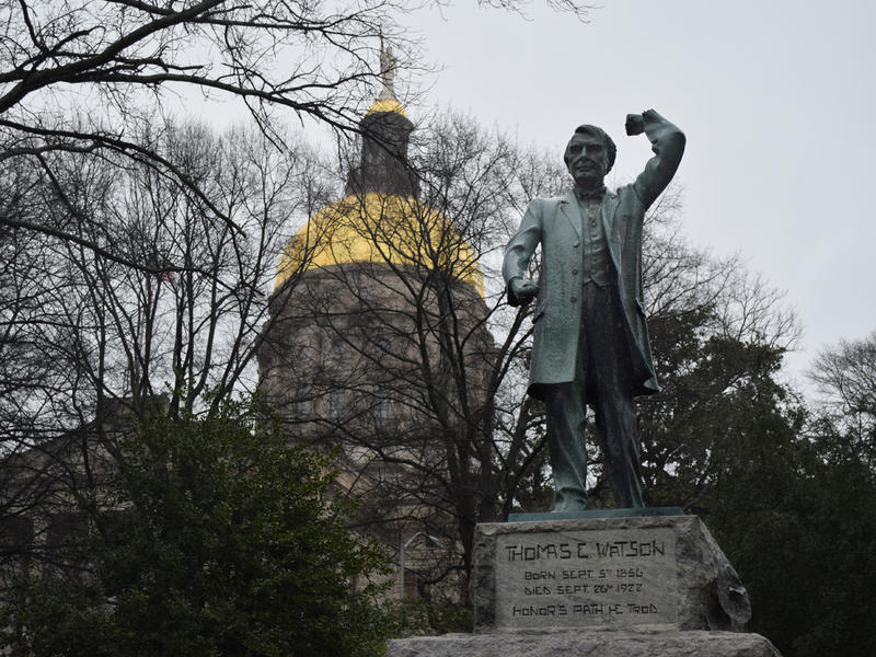 Statue of former U.S. Senator Tom Watson of Georgia near the state Capitol, March 5, 2015