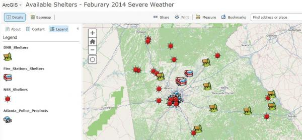 The locations of shelters are shown on this interactive map developed by GEMA.