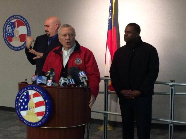 Nathan Deal and Kasim Reed at a press conference Tuesday, Feb. 11, about the ice storm.