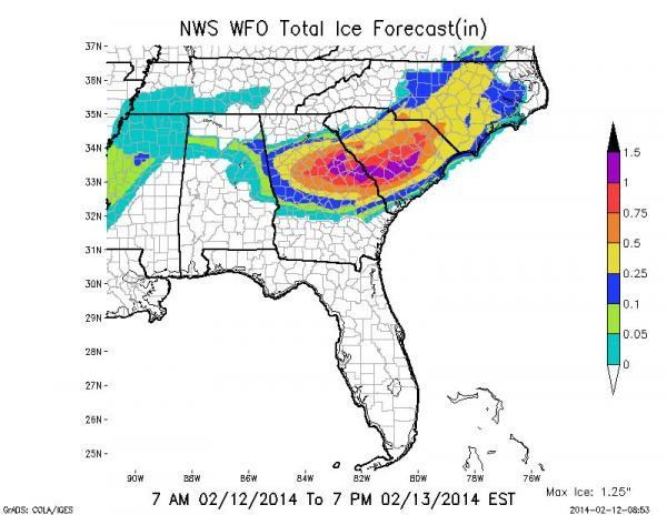 Total ice forecast for the Southeastern U.S. through 7 PM Thursday, Feb. 13 (in inches).
