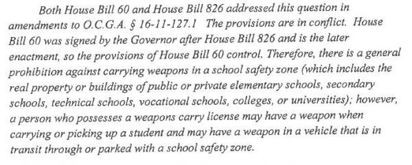 Attorney General Sam Olens' answer to the question about whether a person with a weapons carry license carry a weapon on a college campus (fax image).