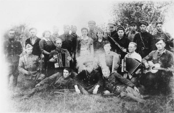 Songs of Jewish partisans inspired professor and composer Laurence Sherr's new sonata. Pictured here is a partisan musical troupe in the Narocz Forest in Belorussia.
