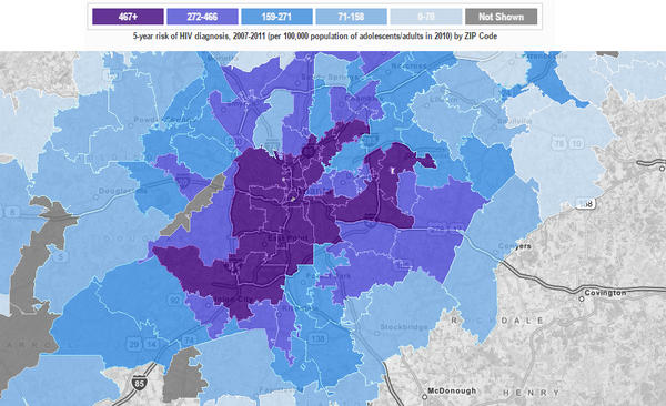 The New HIV Diagnoses value represents the 5-year (2007-2011) risk of new HIV diagnosis among the adult/adolescent population within each ZIP Code.