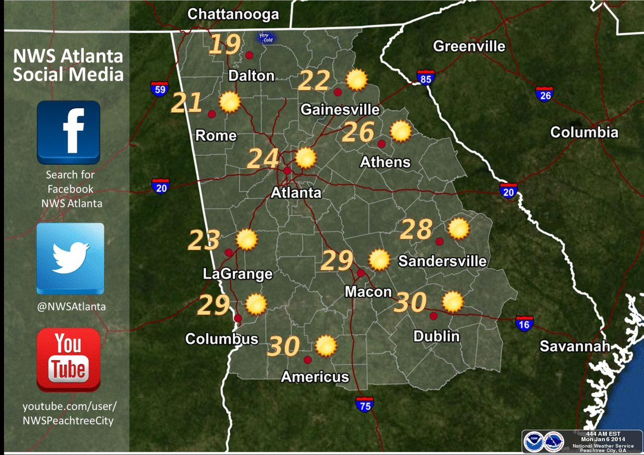 Frigid Weather Blankets Nation Georgia WABE  FM - Us weather map high temperatures