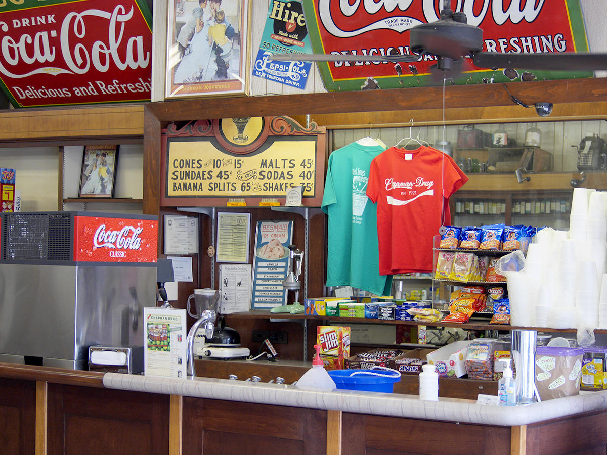 An old fashioned soda fountain in hapeville wabe 90 1 fm for Old fashioned pharmacy soda fountain