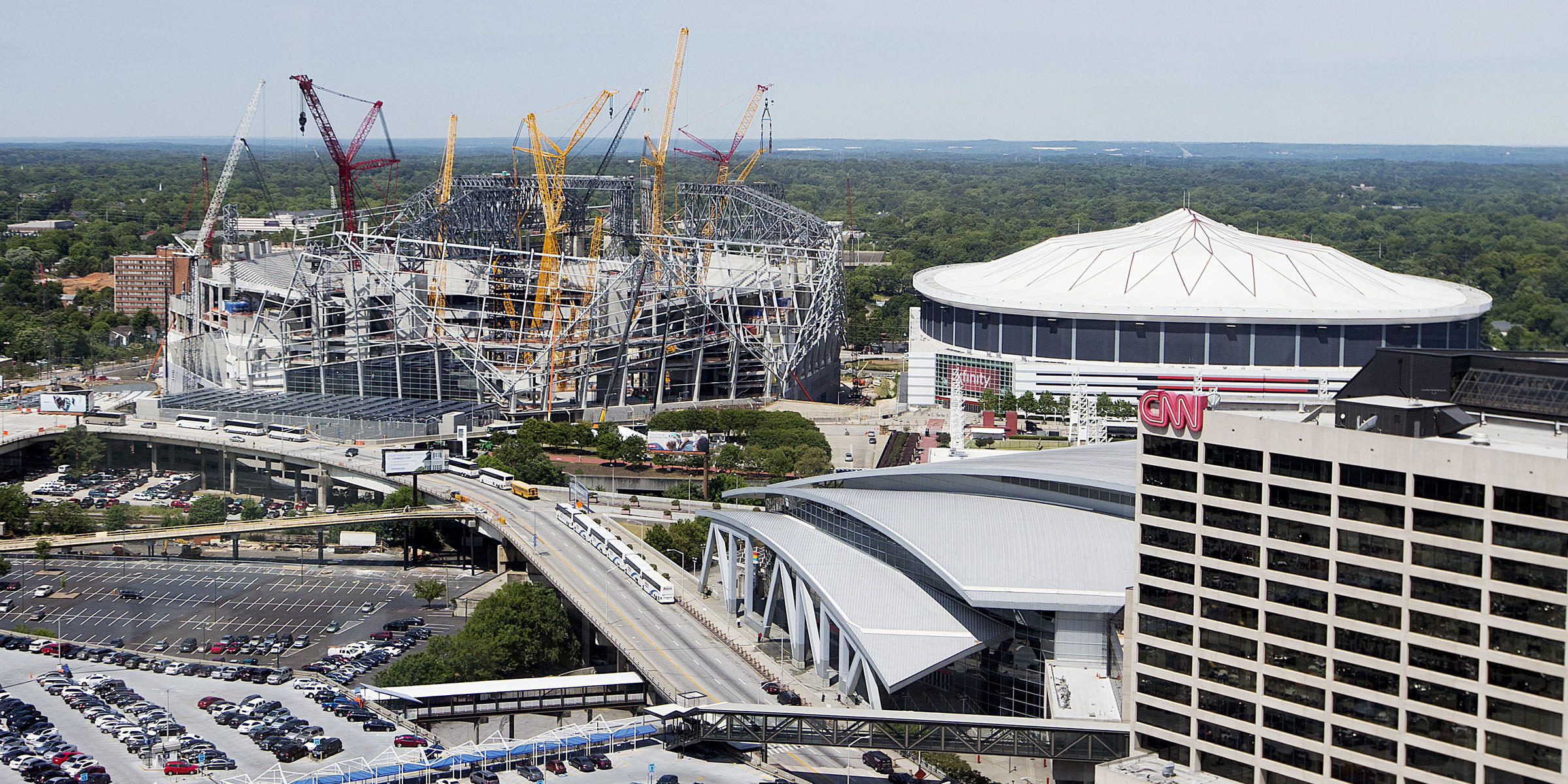 New falcons stadium could help alleviate westside flooding for Address of mercedes benz stadium