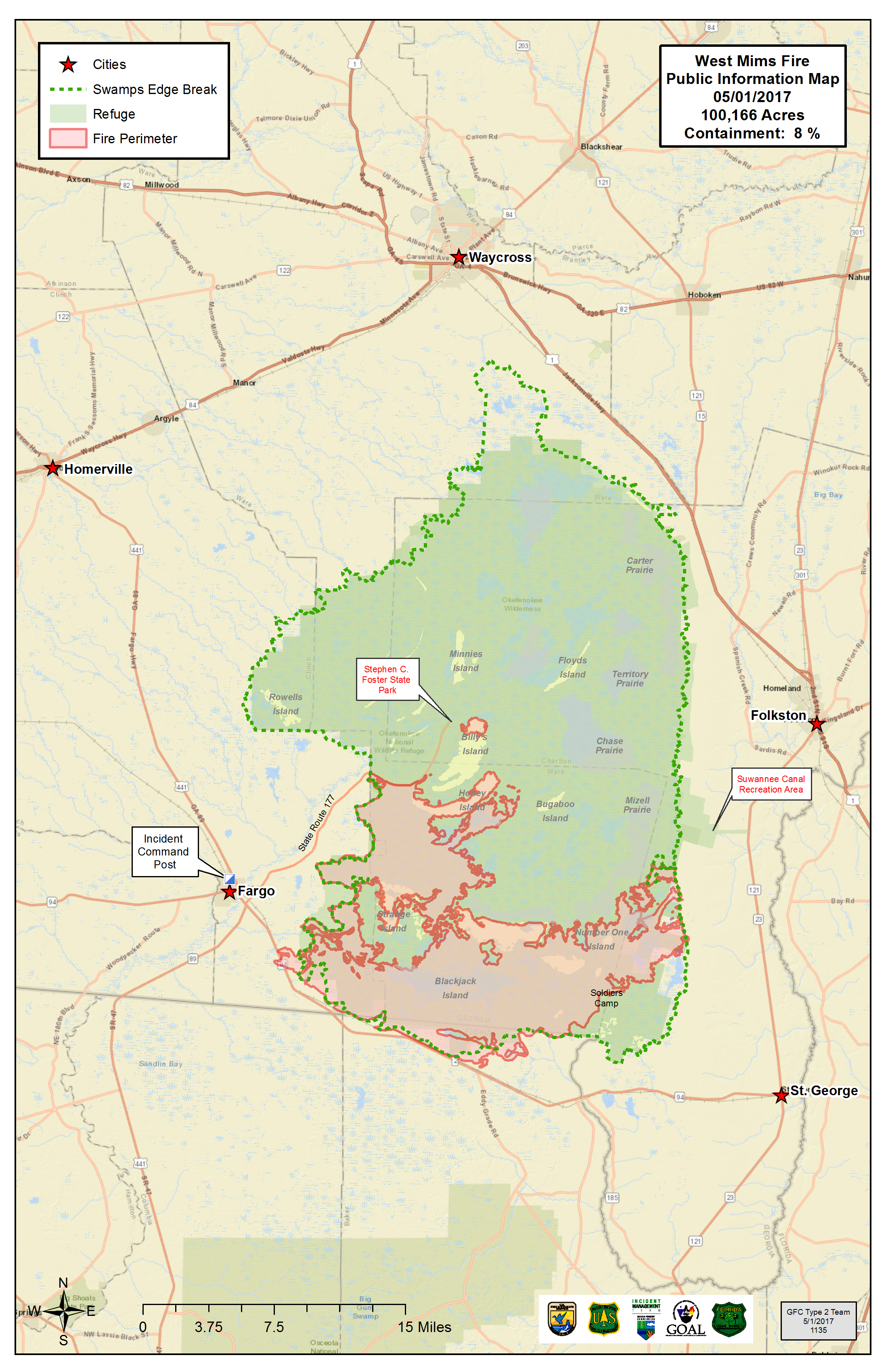 Okefenokee Fire Map.Massive Wildfire May Be A Good Thing For Georgia Swamp Wabe 90 1 Fm