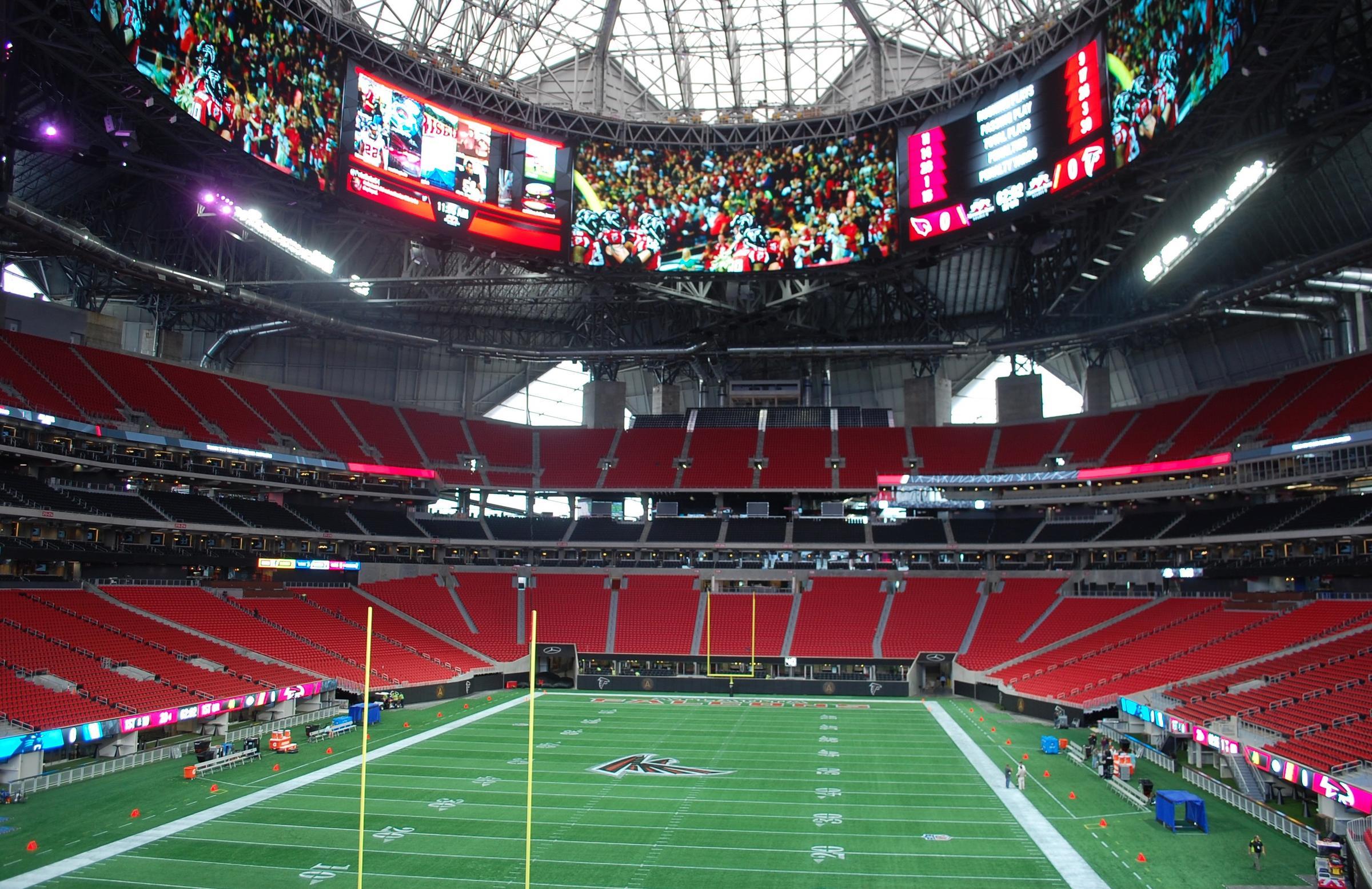 Atlanta falcons 39 new stadium prepares for opening wabe for Mercedes benz stadium application