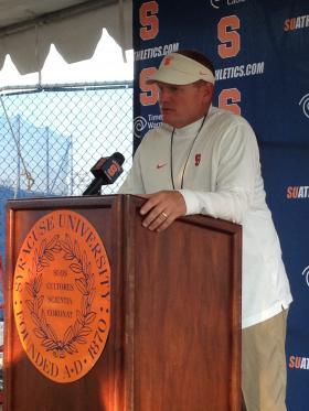 First-year head coach Scott Shafer addresses the media