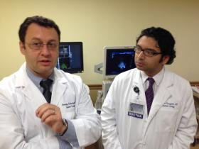 Upstate Urologists, Chair Dr. Gennady Bratslavsky (left) and Assistant Professor, Doctor Srinivas Vourganti discuss new imaging technology.