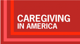 red background with white text, 'caregiving in america'