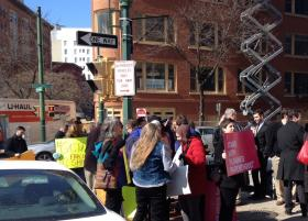 Protestors greeted Astorino in front of Syracuse City Hall
