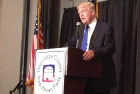 Donald Trump Addressed Onondaga County Republicans on taxes, fracking, climate change, his business ventures, but did not say he's entering Governor's race.