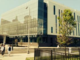 The exterior of the new Upstate Cancer Center on East Adams Street in Syracuse.