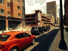 Traffic on West Fayette is down to a single, one way street near Franklin