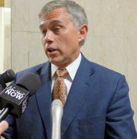 GOP candidate for state comptroller and current Onondaga County Comptroller Bob Antonacci talks to the media in Albany this week.