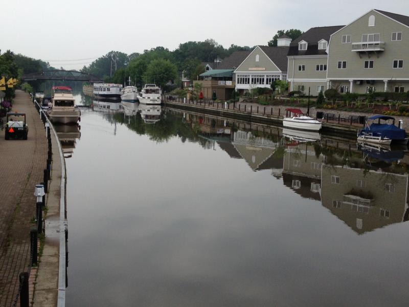 Developed waterfront at Fairport attracts pleasure boats and other tourists.