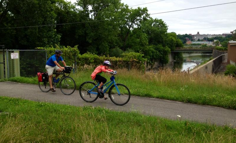 Cyclists hugged the Mohawk River on the Canalway recreation trail
