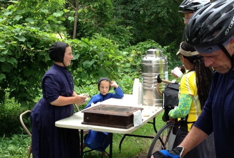 As the ride wove its way through country roads to Seneca Falls, these Amish girls offered free water and were selling their excellent oatmeal cookies.  Doing brisk business!