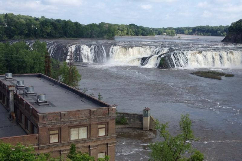 Riders from last year's Cycling the Erie Canal say Cohoes Falls were almost dry; not with this year's rains.