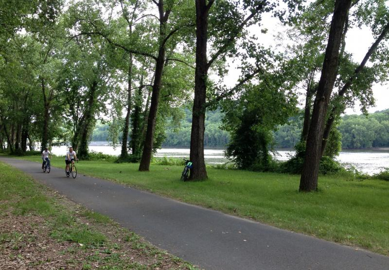 The last few miles of the trip into Albany took riders along a wide stretch of the Hudson River
