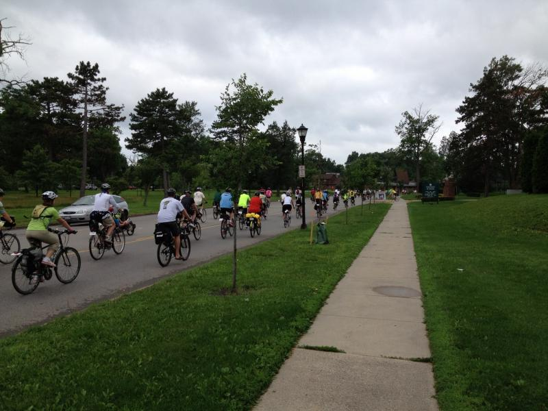 Riders filled the streets headed for the Buffalo waterfront on Day 1 with 46 miles planned for the day's ride.