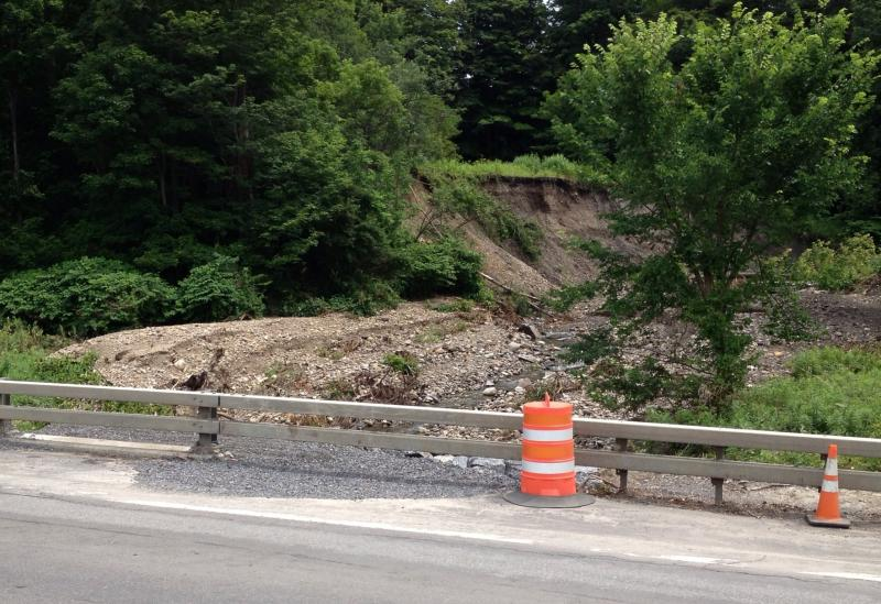 Road damage and hill erosion can be seen off of Route 5 near Mohawk.