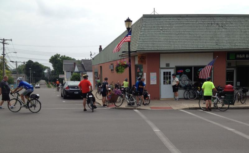 This pub and grill in Lyons had a banner day with hundreds of cyclists passing by at lunch hour, but Village has not developed as others ahve into a destination.