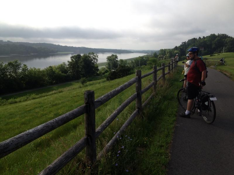 The paved Mohawk-Hudson trail took riders along the Mohawk River for a long stretch.