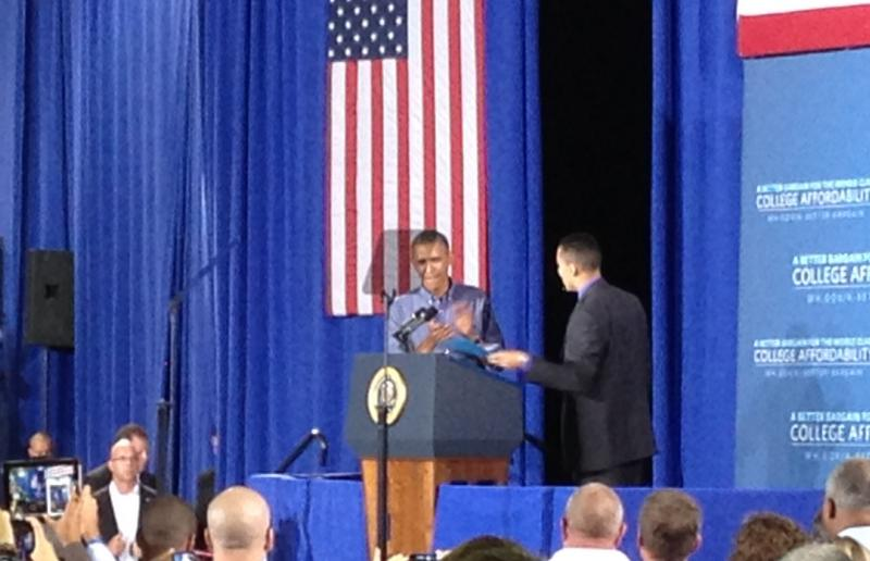 President Obama was introduced by Corcoran High School student Emilio Ortiz