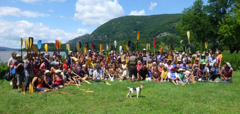 Paddlers gather for a group photo at Cold Spring