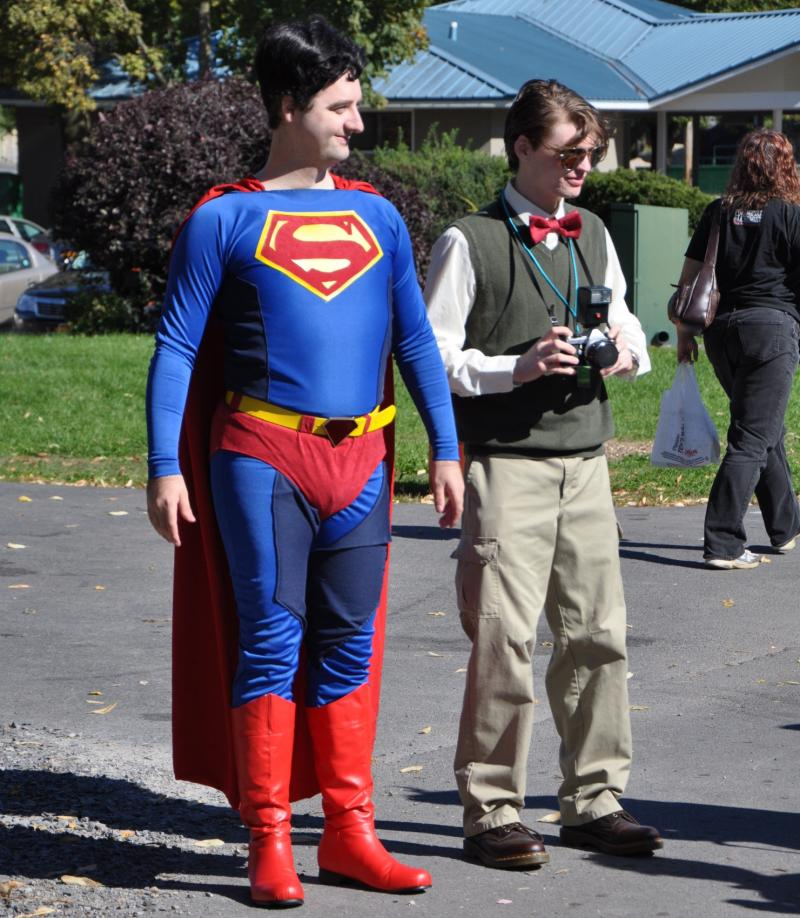 Both sides of Superman/Clark Kent made the event