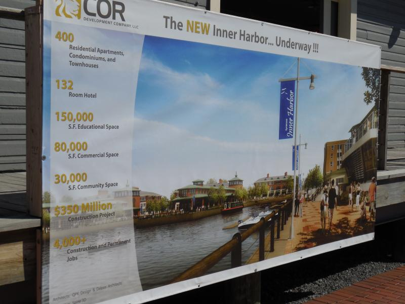 Banner outlining future development for the Inner Harbor