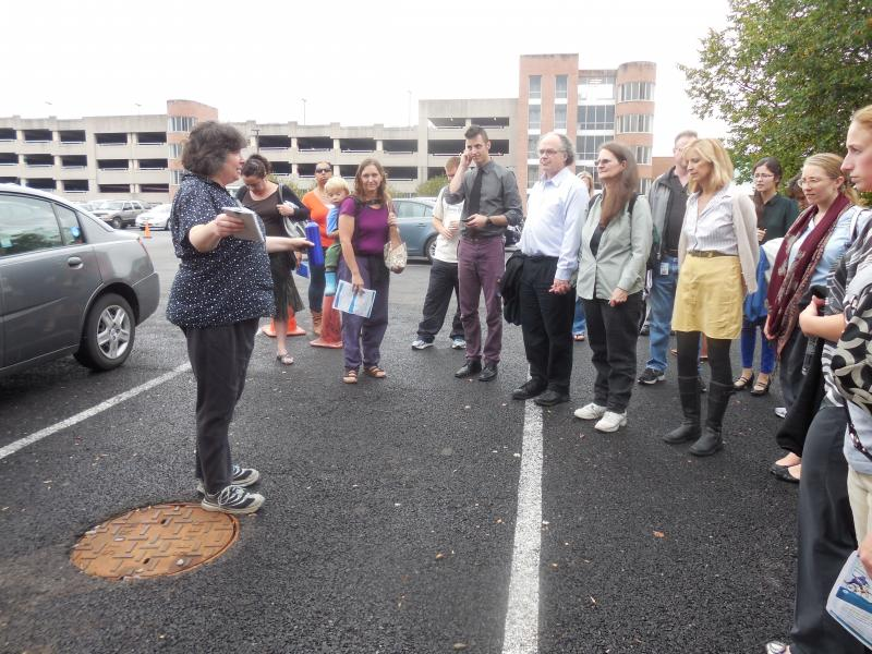 The group learns about the porous pavement parking lots