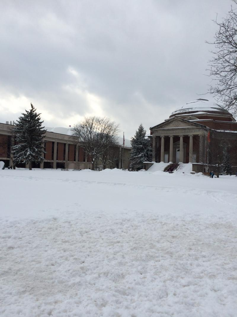 Hendricks Chapel - all is quiet at mid-day on the Quad